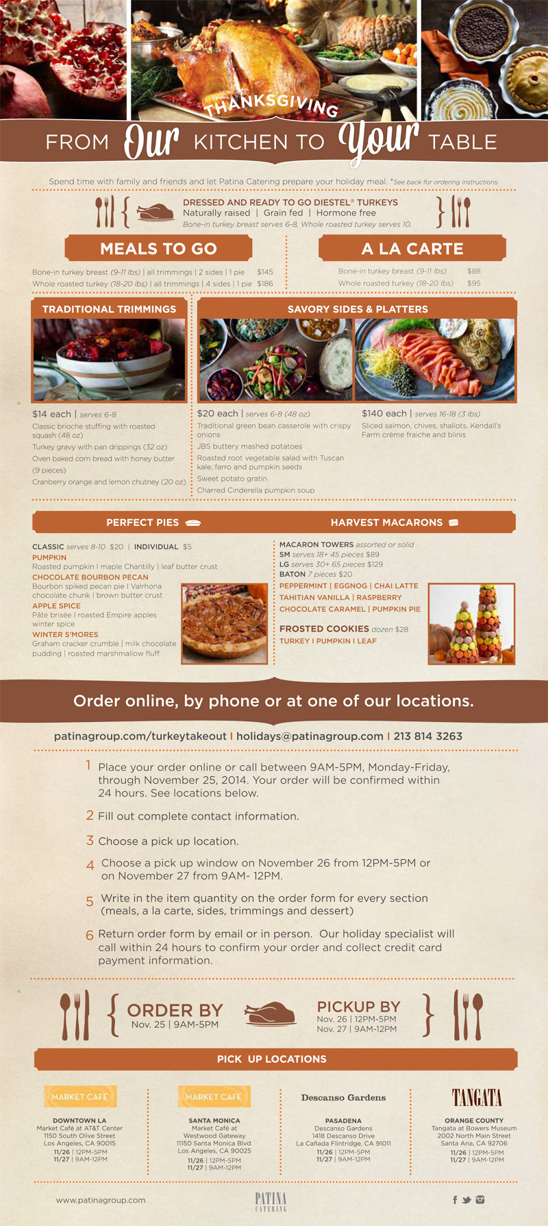 Patina Restaurant Group Catering TurkeyTakeout 2014