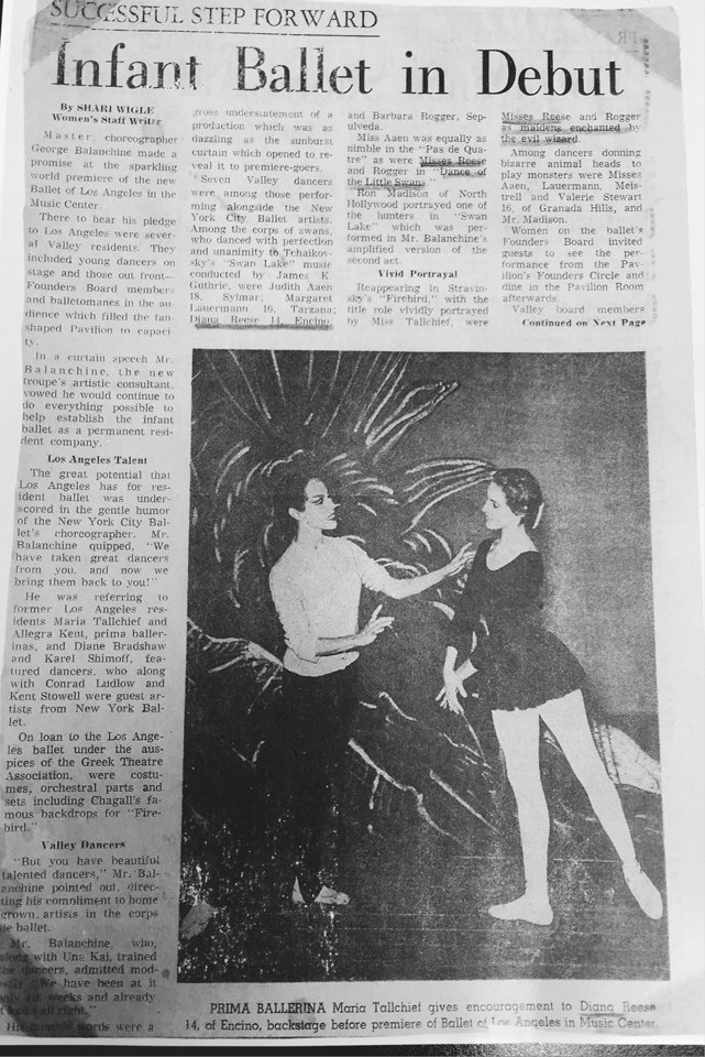 Diana Reese Newspaper Clipping
