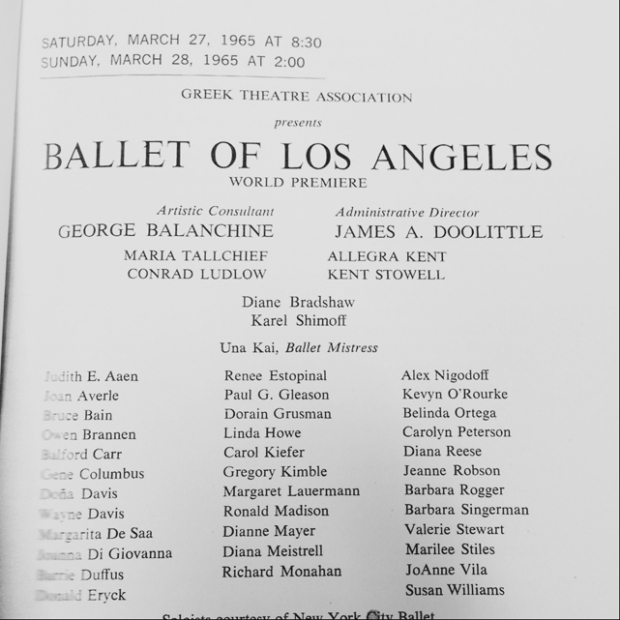 Ballet of Los Angeles 1965 Program