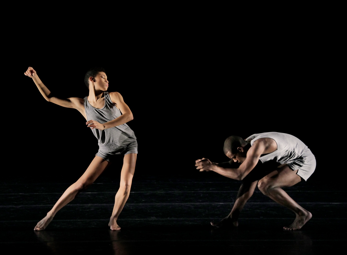 Alvin Ailey American Dance Theater's Ghrai DeVore and Kirven  Douthit-Boyd in Ohad Naharin's Minus 16. Photo by Paul Kolnik
