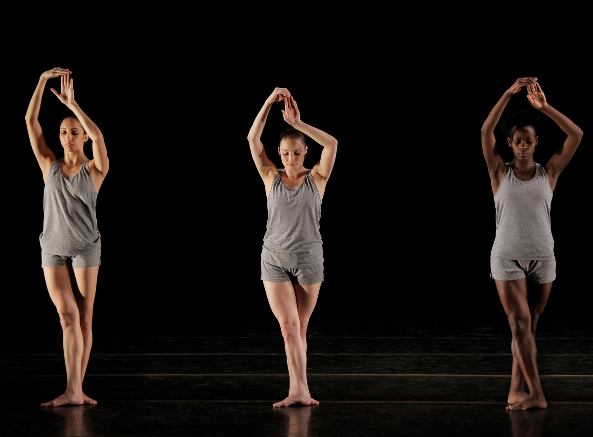 Alvin Ailey American Dance Theater's Sarah Daley, Megan Jakel and Rachael McLaren in Ohad Naharin's Minus 16. Photo by Paul Kolnik